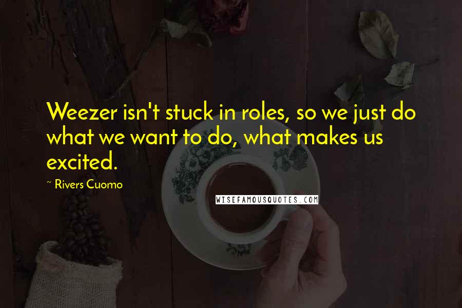 Rivers Cuomo quotes: Weezer isn't stuck in roles, so we just do what we want to do, what makes us excited.