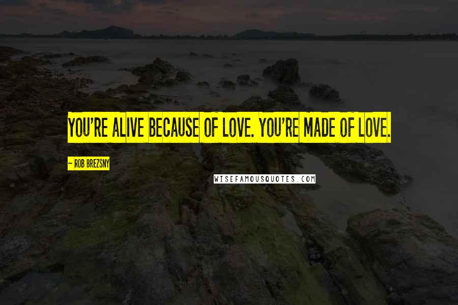 Rob Brezsny quotes: You're alive because of love. You're made of love.