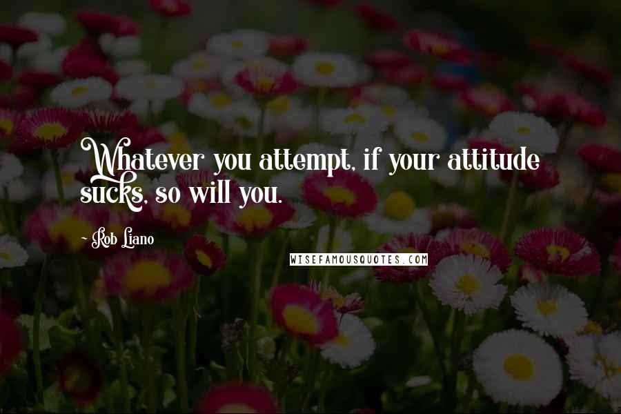 Rob Liano quotes: Whatever you attempt, if your attitude sucks, so will you.