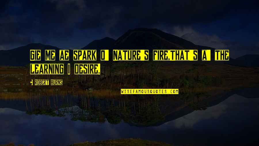Robert Burns Quotes By Robert Burns: Gie me ae spark o' Nature's fire,That's a'