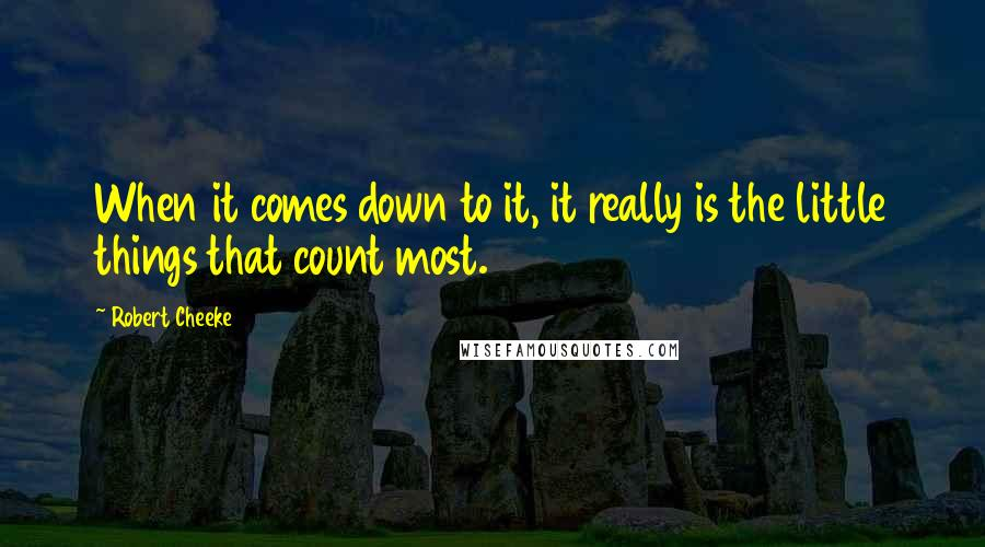 Robert Cheeke quotes: When it comes down to it, it really is the little things that count most.