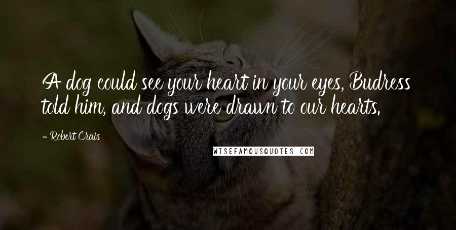 Robert Crais quotes: A dog could see your heart in your eyes, Budress told him, and dogs were drawn to our hearts.