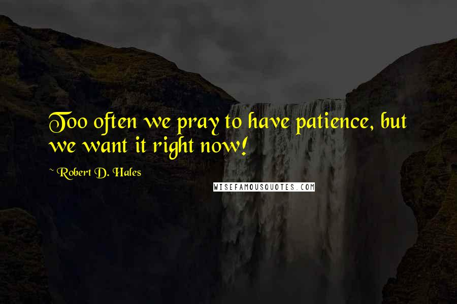 Robert D. Hales quotes: Too often we pray to have patience, but we want it right now!