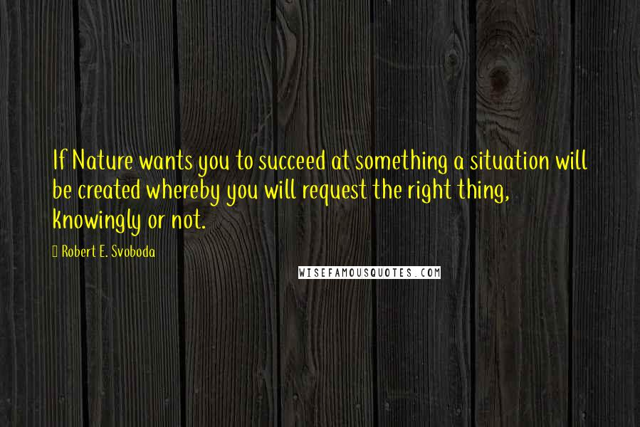Robert E. Svoboda quotes: If Nature wants you to succeed at something a situation will be created whereby you will request the right thing, knowingly or not.