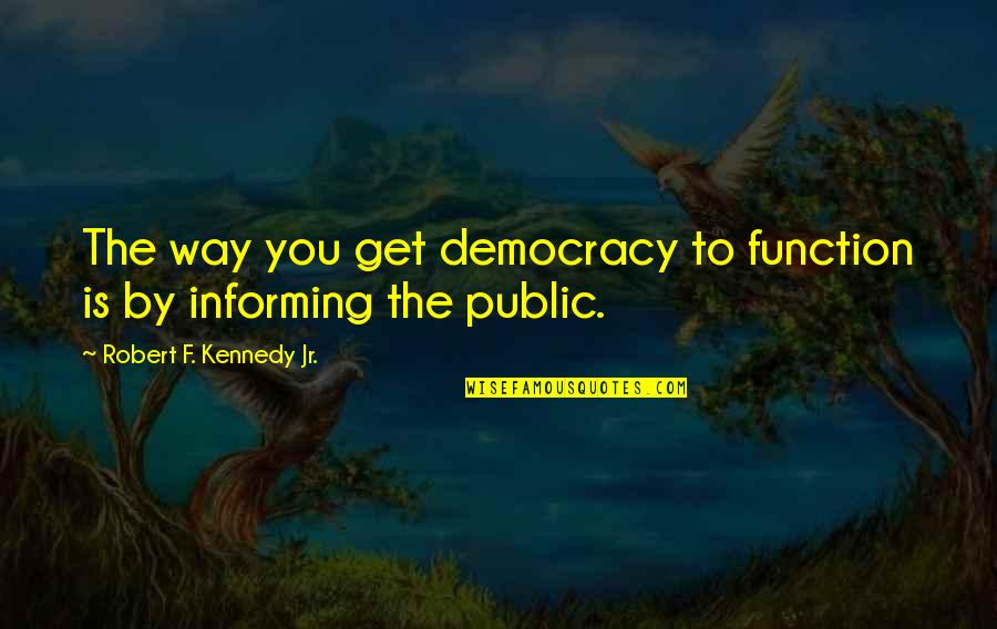 Robert F Kennedy Quotes By Robert F. Kennedy Jr.: The way you get democracy to function is