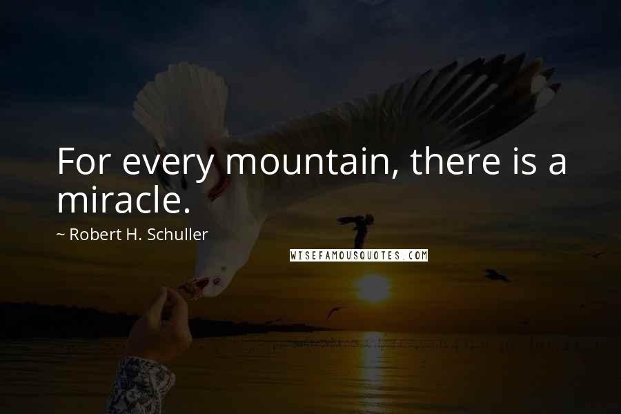 Robert H. Schuller quotes: For every mountain, there is a miracle.