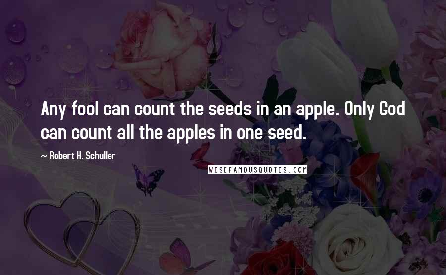 Robert H. Schuller quotes: Any fool can count the seeds in an apple. Only God can count all the apples in one seed.