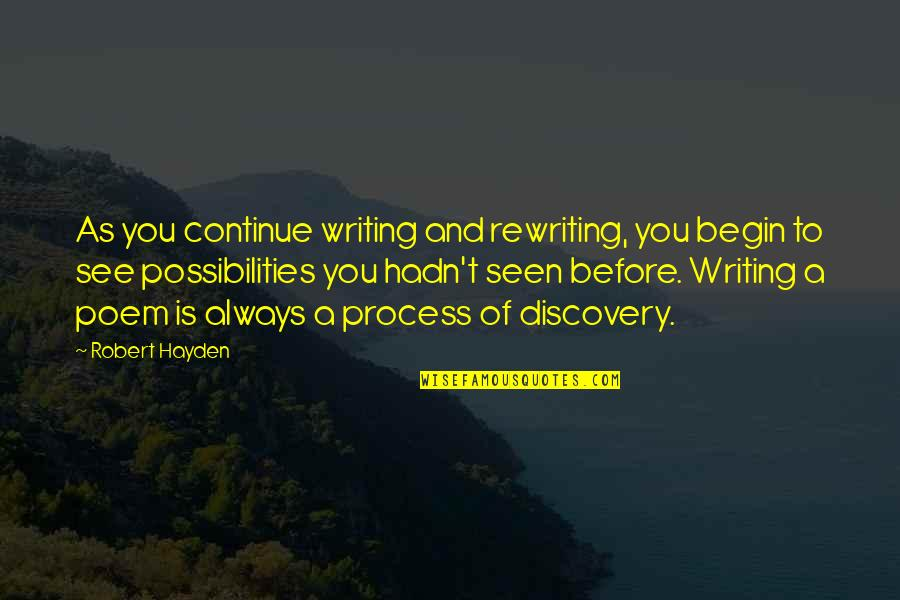 Robert Hayden Quotes By Robert Hayden: As you continue writing and rewriting, you begin