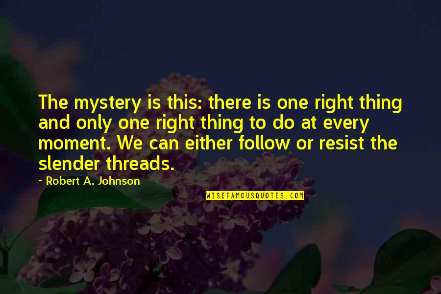 Robert Johnson Quotes By Robert A. Johnson: The mystery is this: there is one right