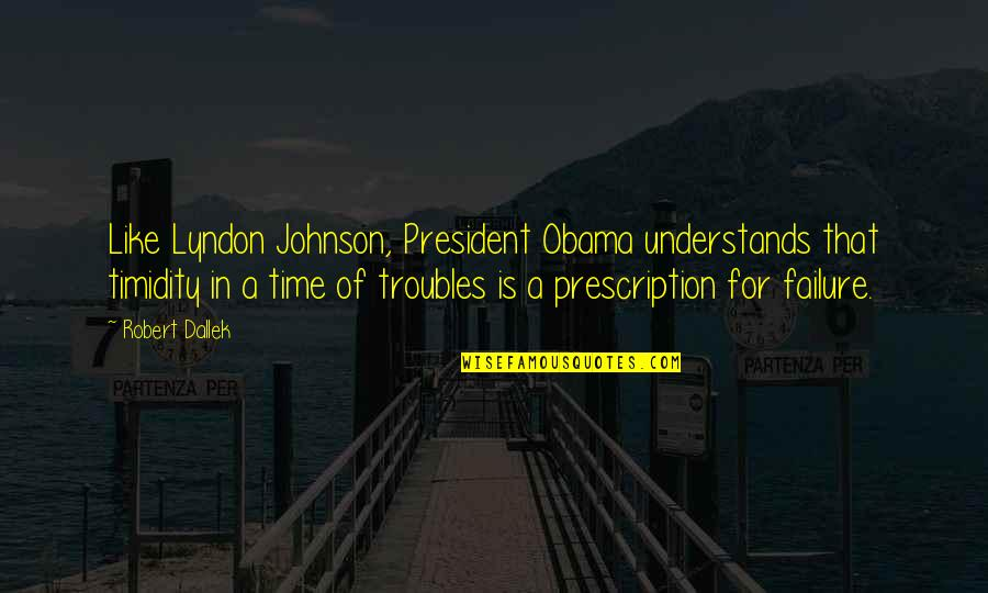 Robert Johnson Quotes By Robert Dallek: Like Lyndon Johnson, President Obama understands that timidity