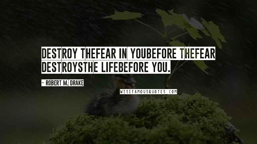Robert M. Drake quotes: Destroy thefear in youbefore thefear destroysthe lifebefore you.