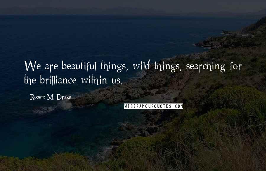Robert M. Drake quotes: We are beautiful things, wild things, searching for the brilliance within us.