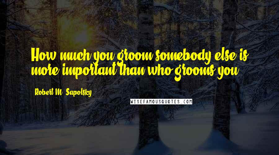 Robert M. Sapolsky quotes: How much you groom somebody else is more important than who grooms you.