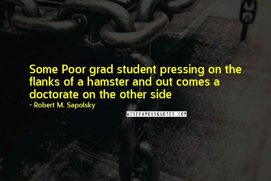 Robert M. Sapolsky quotes: Some Poor grad student pressing on the flanks of a hamster and out comes a doctorate on the other side