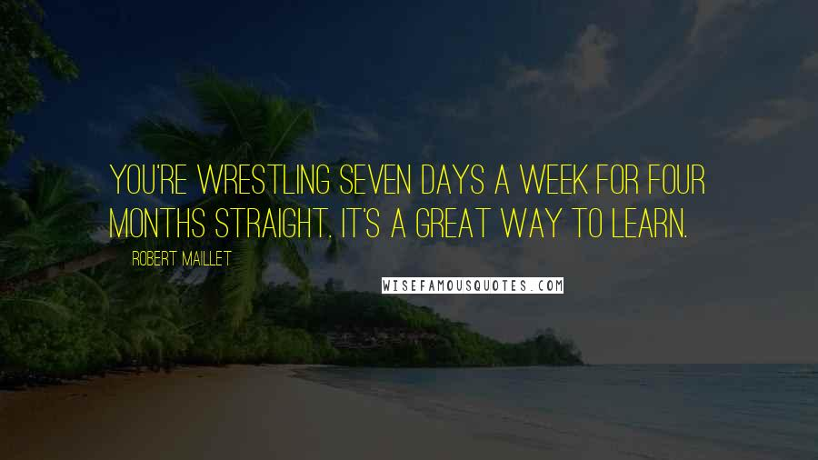 Robert Maillet quotes: You're wrestling seven days a week for four months straight. It's a great way to learn.