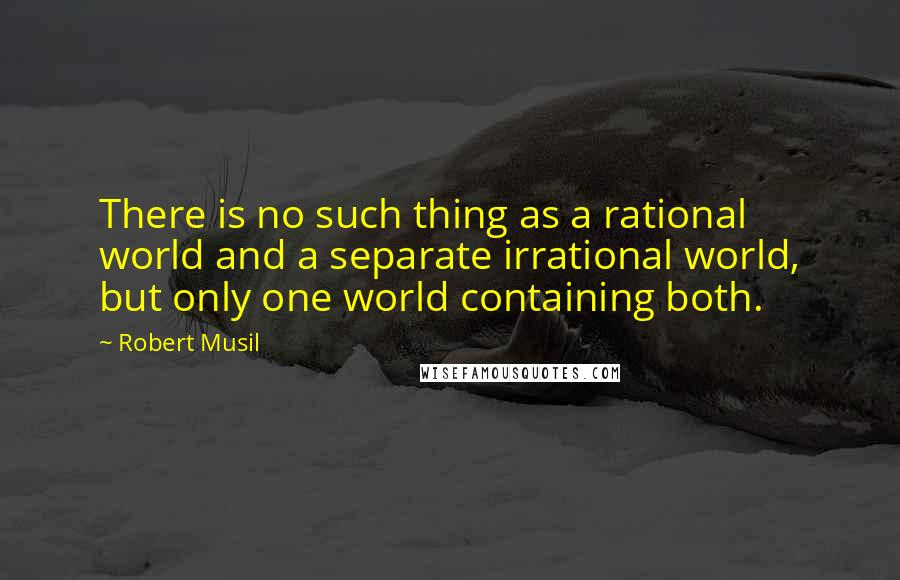 Robert Musil quotes: There is no such thing as a rational world and a separate irrational world, but only one world containing both.