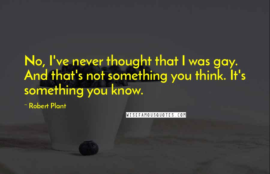 Robert Plant quotes: No, I've never thought that I was gay. And that's not something you think. It's something you know.