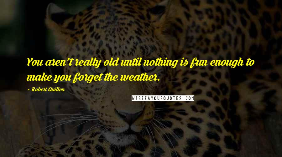 Robert Quillen quotes: You aren't really old until nothing is fun enough to make you forget the weather.