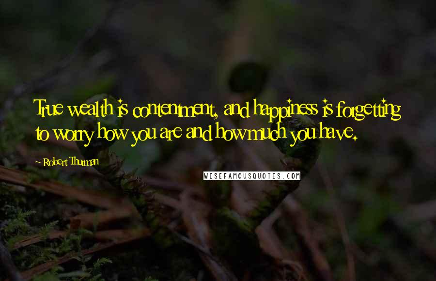 Robert Thurman quotes: True wealth is contentment, and happiness is forgetting to worry how you are and how much you have.