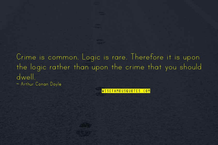 Robert Tristram Coffin Quotes By Arthur Conan Doyle: Crime is common. Logic is rare. Therefore it