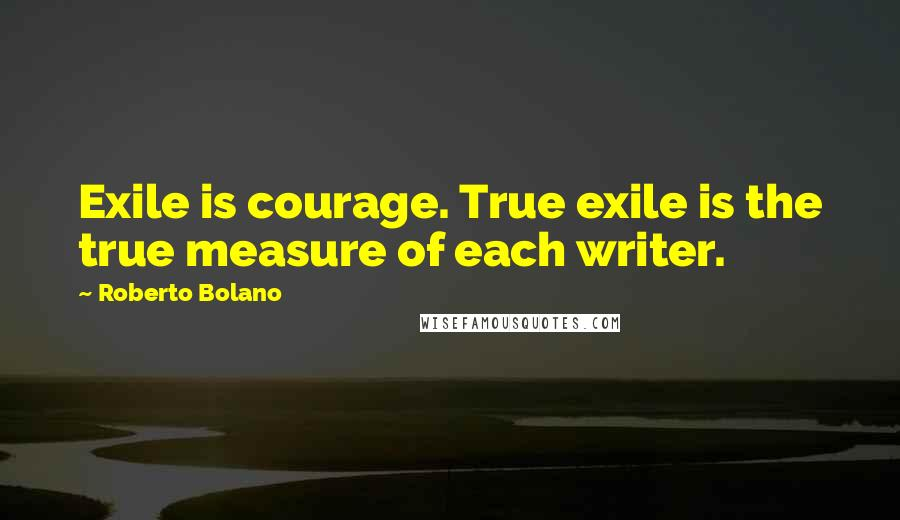 Roberto Bolano quotes: Exile is courage. True exile is the true measure of each writer.