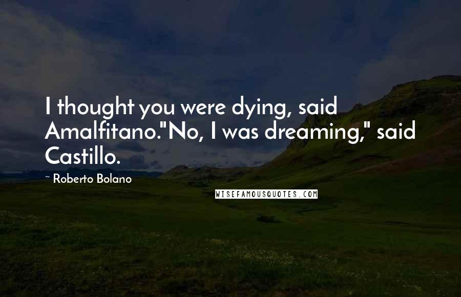 "Roberto Bolano quotes: I thought you were dying, said Amalfitano.""No, I was dreaming,"" said Castillo."
