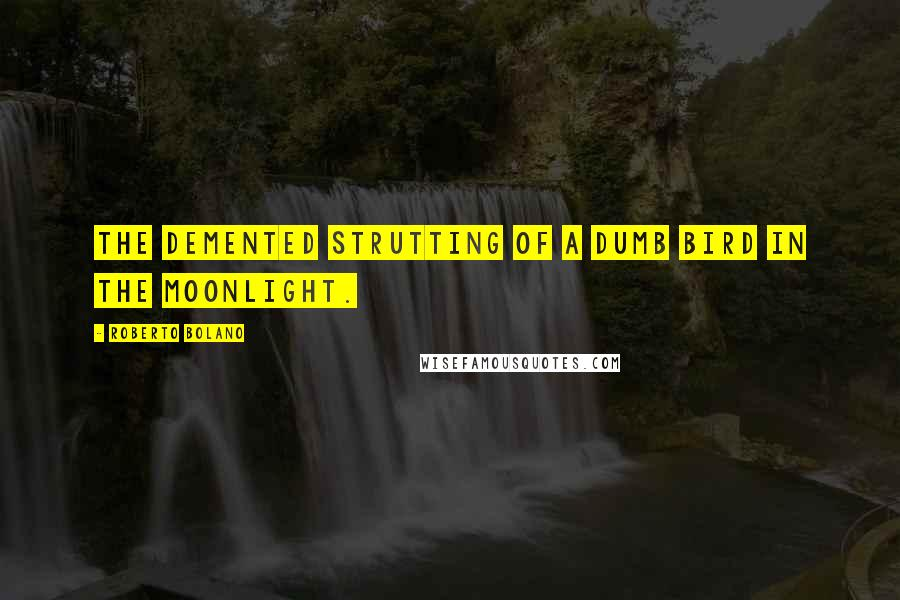 Roberto Bolano quotes: The demented strutting of a dumb bird in the moonlight.