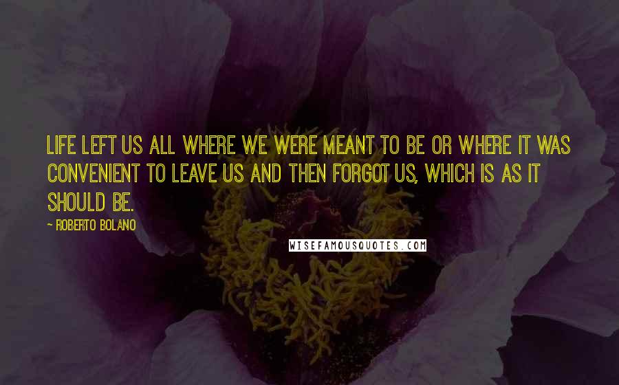 Roberto Bolano quotes: Life left us all where we were meant to be or where it was convenient to leave us and then forgot us, which is as it should be.