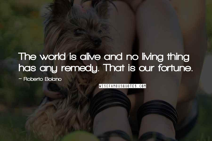 Roberto Bolano quotes: The world is alive and no living thing has any remedy. That is our fortune.