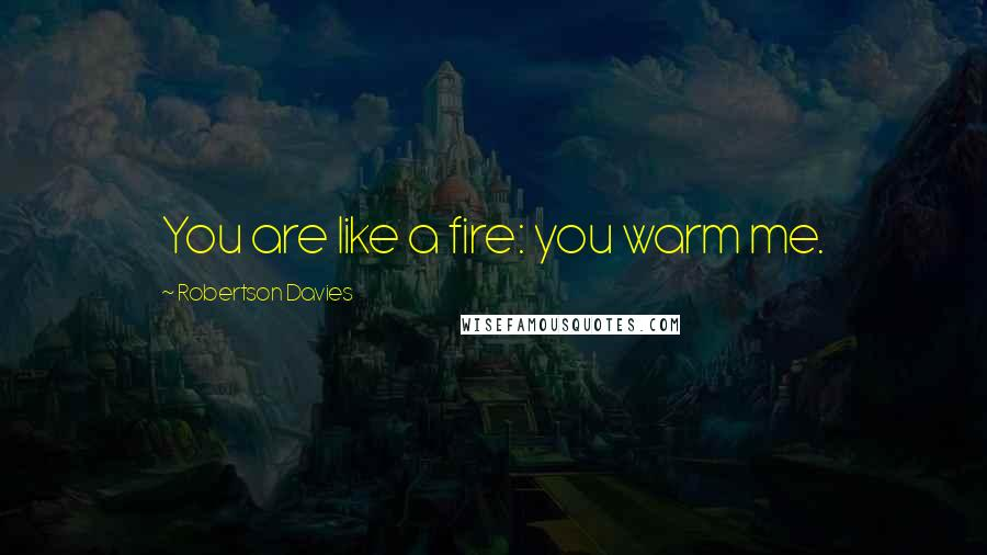 Robertson Davies quotes: You are like a fire: you warm me.