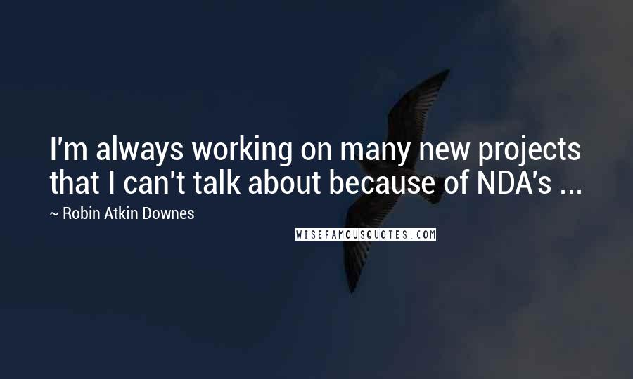 Robin Atkin Downes quotes: I'm always working on many new projects that I can't talk about because of NDA's ...