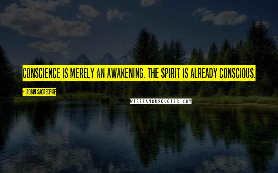 Robin Sacredfire quotes: Conscience is merely an awakening. The spirit is already conscious.