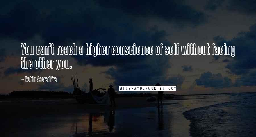 Robin Sacredfire quotes: You can't reach a higher conscience of self without facing the other you.