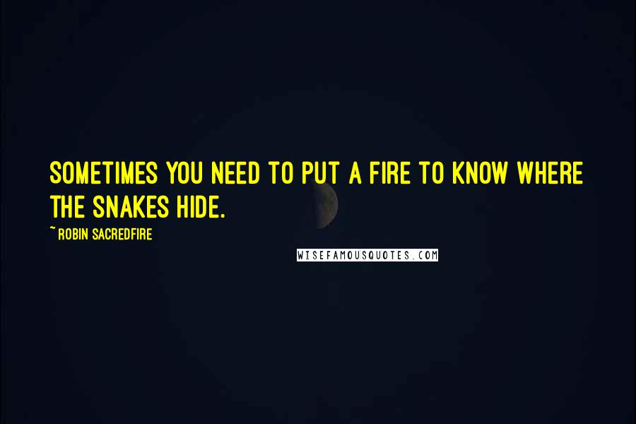 Robin Sacredfire quotes: Sometimes you need to put a fire to know where the snakes hide.
