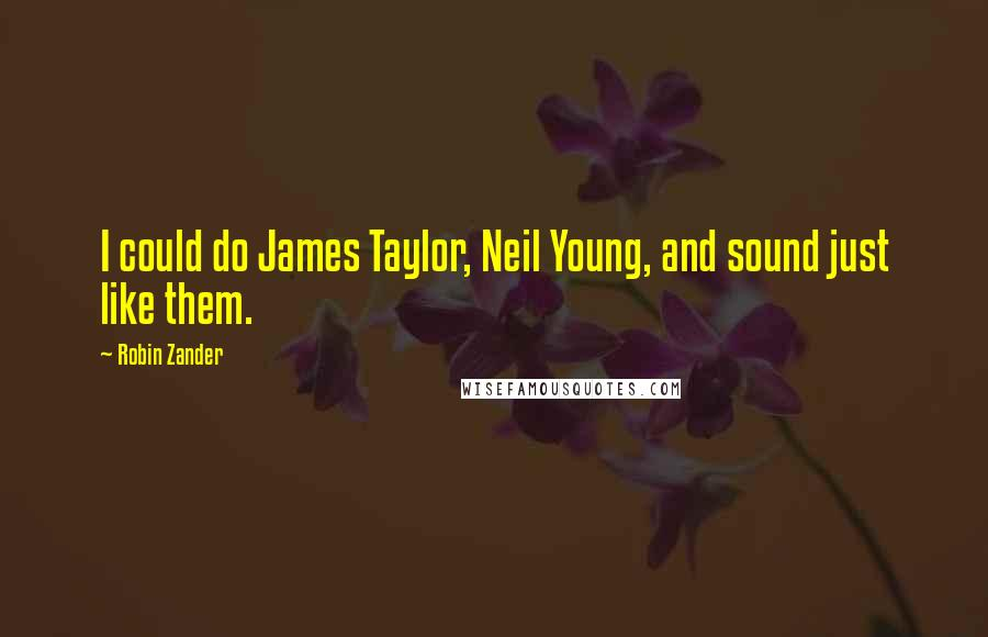 Robin Zander quotes: I could do James Taylor, Neil Young, and sound just like them.