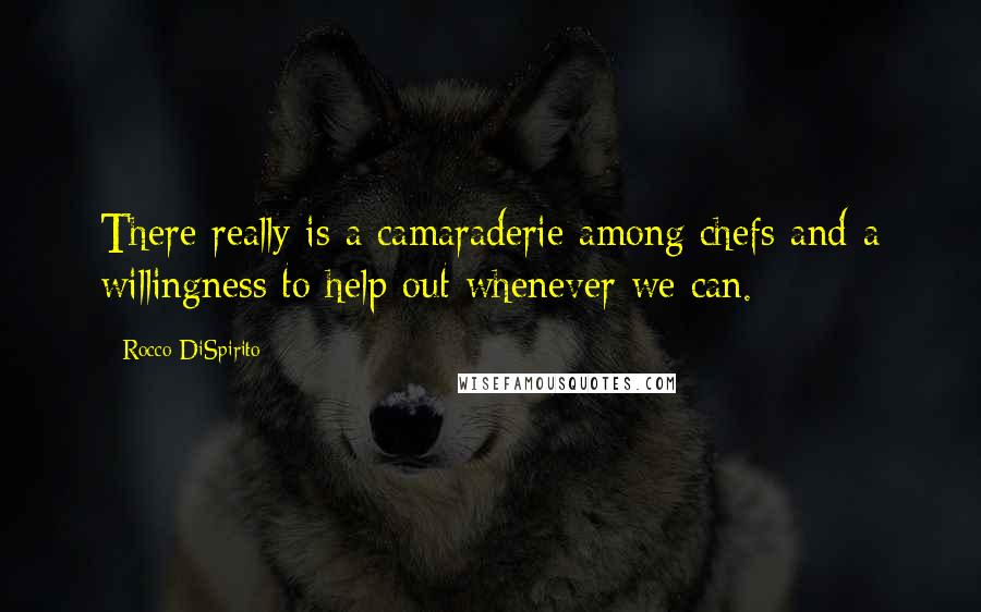 Rocco DiSpirito quotes: There really is a camaraderie among chefs and a willingness to help out whenever we can.