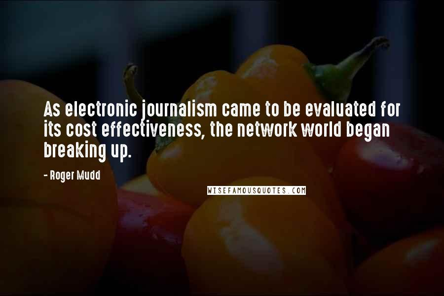 Roger Mudd quotes: As electronic journalism came to be evaluated for its cost effectiveness, the network world began breaking up.