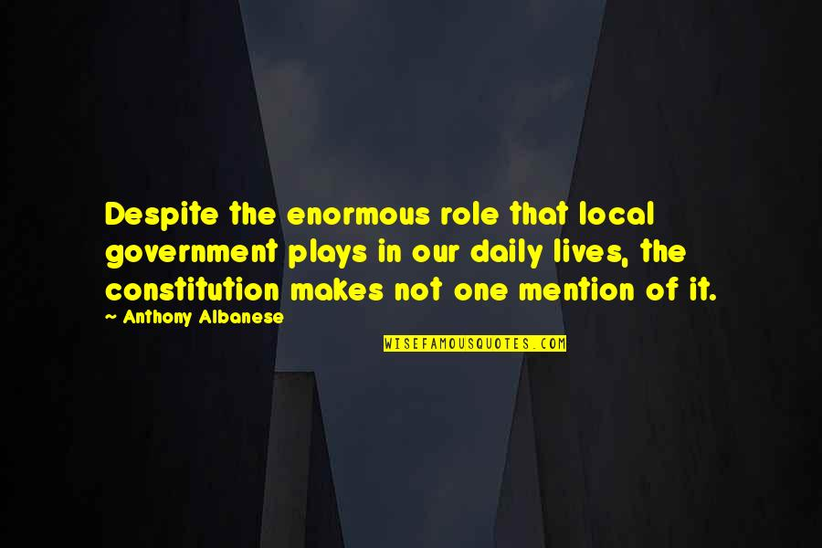 Role Of Government Quotes By Anthony Albanese: Despite the enormous role that local government plays