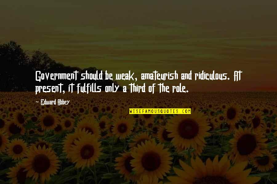 Role Of Government Quotes By Edward Abbey: Government should be weak, amateurish and ridiculous. At