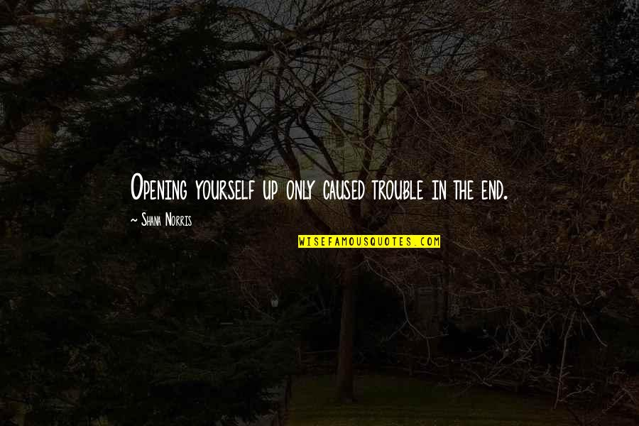Role Of Husband Quotes By Shana Norris: Opening yourself up only caused trouble in the