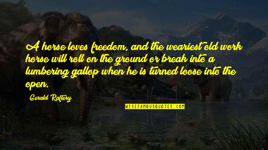 Roll On Quotes By Gerald Raftery: A horse loves freedom, and the weariest old