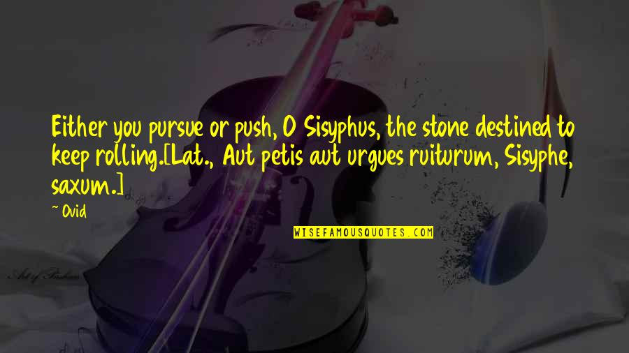 Rolling Stone Quotes By Ovid: Either you pursue or push, O Sisyphus, the