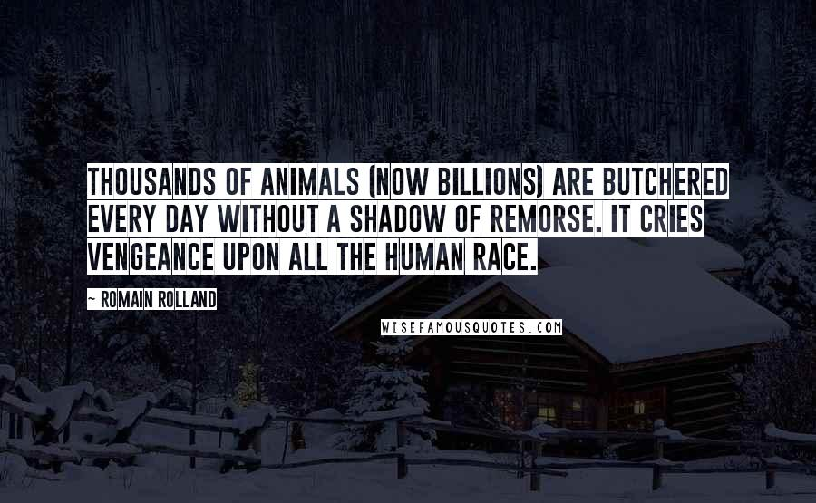 Romain Rolland quotes: Thousands of animals (now billions) are butchered every day without a shadow of remorse. It cries vengeance upon all the human race.