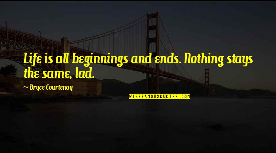 Romantic King And Queen Quotes By Bryce Courtenay: Life is all beginnings and ends. Nothing stays