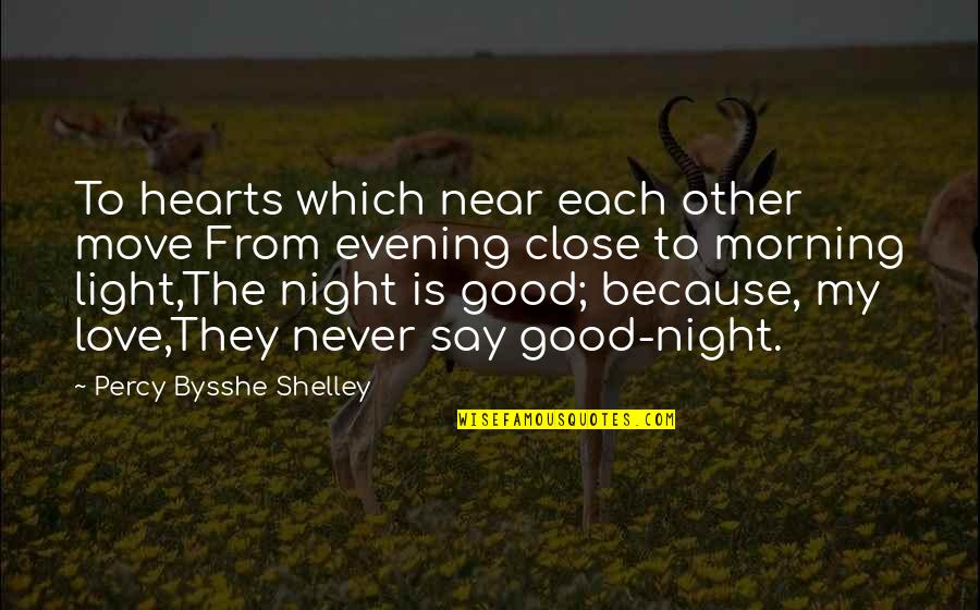 Romantic Night Love Quotes By Percy Bysshe Shelley: To hearts which near each other move From