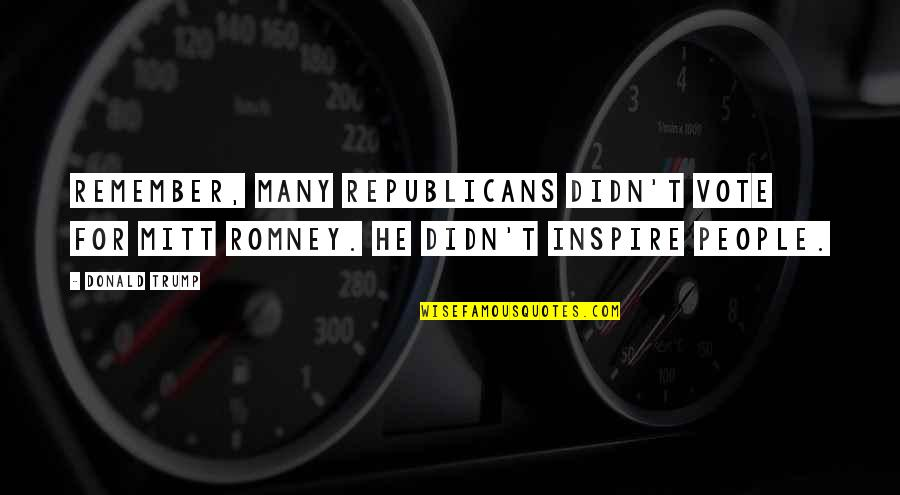 Romney Quotes By Donald Trump: Remember, many Republicans didn't vote for Mitt Romney.
