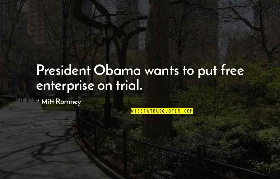 Romney Quotes By Mitt Romney: President Obama wants to put free enterprise on