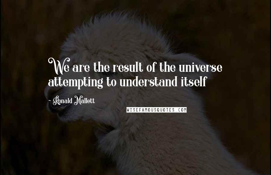 Ronald Mallett quotes: We are the result of the universe attempting to understand itself
