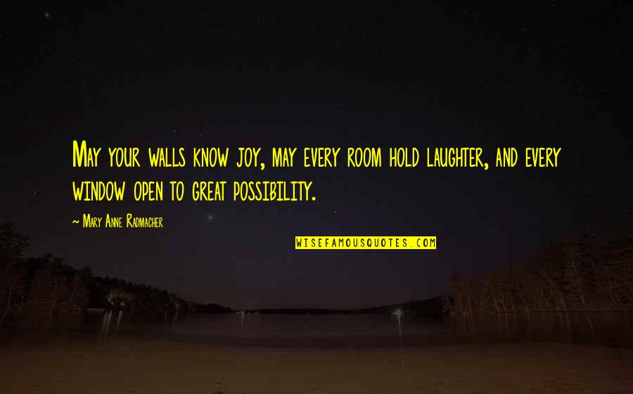 Room Wall Quotes By Mary Anne Radmacher: May your walls know joy, may every room