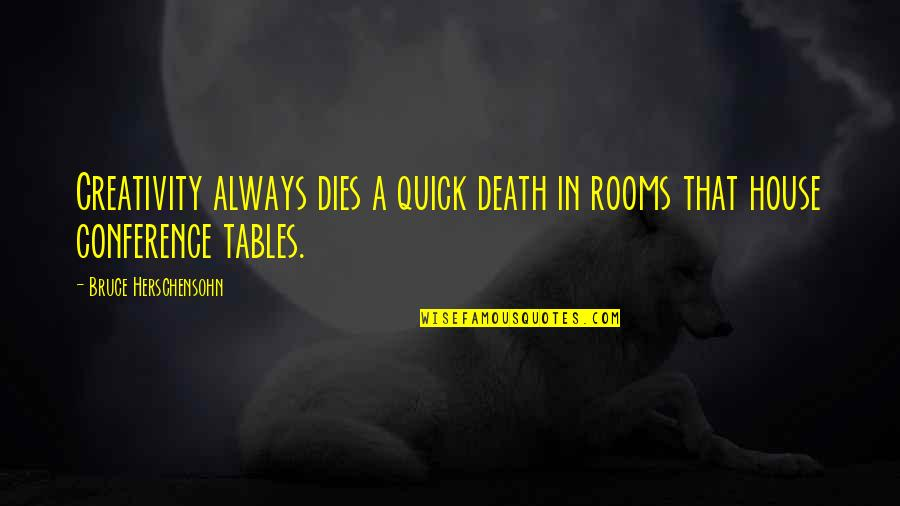 Rooms In A House Quotes By Bruce Herschensohn: Creativity always dies a quick death in rooms
